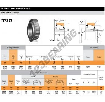 02476-02420A-TIMKEN - 31.75x68x21 mm