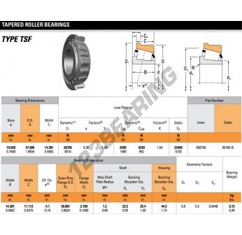 05075X-05185-B-TIMKEN - 19.05x47x14.38 mm