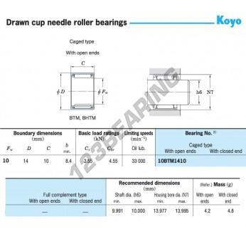 10BTM1410-KOYO - 10x14x10 mm