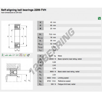 2209TVH FAG New Self Aligning Ball Bearing