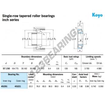 KOYO 45291 TAPERED ROLLER BEARING