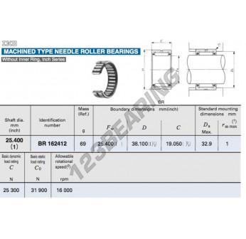 BR162412-IKO - 25.4x38.1x19.05 mm