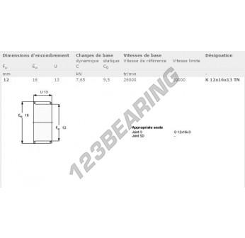 K12-16-13-TN-SKF - 12x16x13 mm